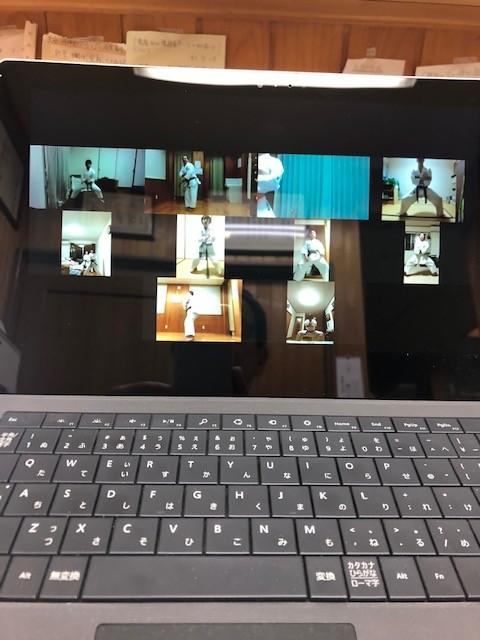 4月8日 水曜日 隆清館豊田道場は、Zoomでオンライン稽古しました。